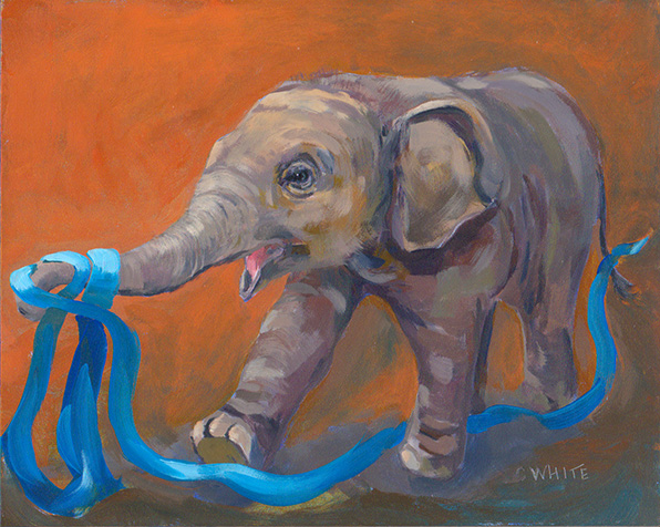 Baby Elephant with Blue Ribbon