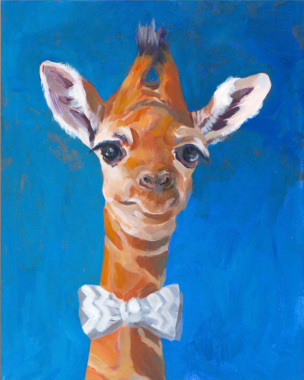 Baby Giraffe with bowtie and cute lip