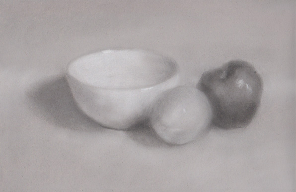3 object still life tone drawing pastel