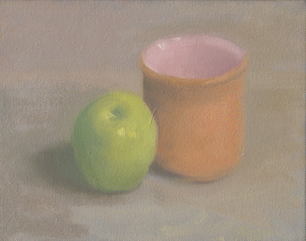 FIrst American Still life green apple with orange and pink cup