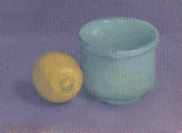First European Still Life lemon with blue bowl
